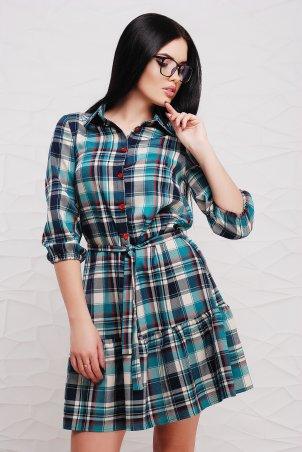 """TessDress. Платье в клетку с рюшей и поясом """"Дарси"""" Blue. Артикул: 1308"""