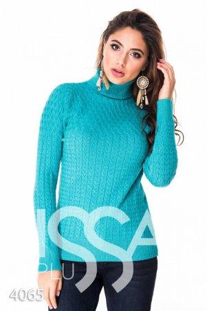 ISSA PLUS. Бирюзовый полуоблегающий свитер с высоким горлом в мелкий вязаный рисунок. Артикул: 4065_бирюзовый