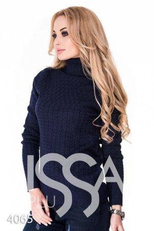 ISSA PLUS. Синий полуоблегающий свитер с высоким горлом в мелкий вязаный рисунок. Артикул: 4065_синий