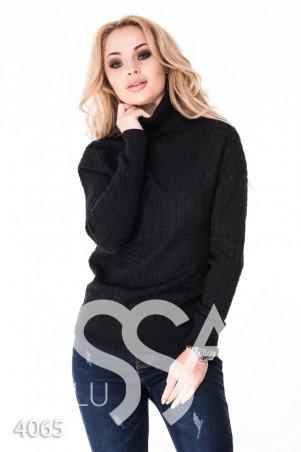 ISSA PLUS. Черный полуоблегающий свитер с высоким горлом в мелкий вязаный рисунок. Артикул: 4065_черный