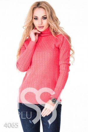 ISSA PLUS. Персиковый полуоблегающий свитер с высоким горлом в мелкий вязаный рисунок. Артикул: 4065_персиковый