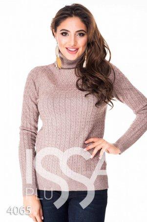 ISSA PLUS. Коричневый полуоблегающий свитер с высоким горлом в мелкий вязаный рисунок. Артикул: 4065_коричневый