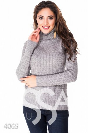 ISSA PLUS. Серый полуоблегающий свитер с высоким горлом в мелкий вязаный рисунок. Артикул: 4065_серый
