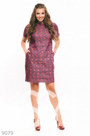 ISSA PLUS. Красное с синим узором платье из коттона с карманами и рукавами фонариком. Артикул: 9079_мультиколор