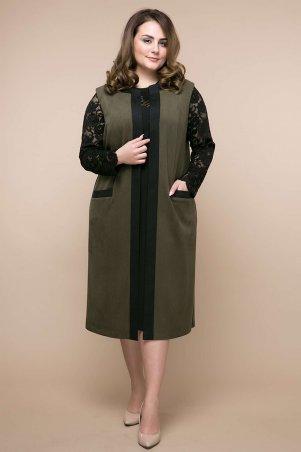 Tatiana: Костюм платье+кардиган БРУКС оливковый - главное фото