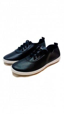 ISSA PLUS. Черные ботиночки из мягкой эко-кожи с белой подошвой. Артикул: VIO-4-311_черный