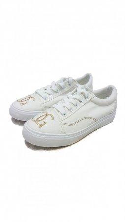 ISSA PLUS. Белые повседневные кеды  с белой подошвой и золотой вышивкой. Артикул: VIO-9-209_белый