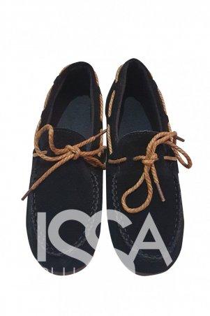 ISSA PLUS: Черные замшевые мокасины с декоративной прошвой коричневым шнурком 1599_черный - главное фото
