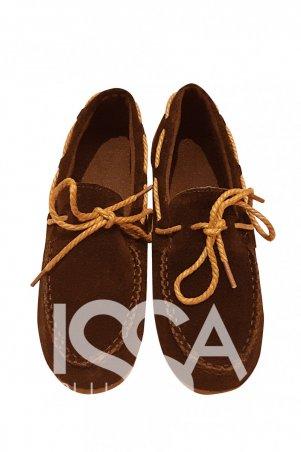 ISSA PLUS: Коричневые замшевые мокасины с декоративной прошвой коричневым шнурком 1599_коричневый - главное фото