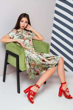 A-Dress. Стильное велюровое платье нежного фисташкового цвета. Артикул: 70830