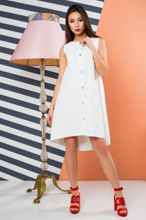 A-Dress. Эффектное белое платье оригинального кроя с серебряными пуговицами. Артикул: 70880