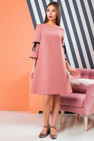 A-Dress. Креповое платье цвета пудра с игривыми бархатными бантами. Артикул: 70872