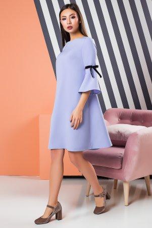 A-Dress. Нежно-голубое расклешенное платье с бархатными лентами. Артикул: 70871