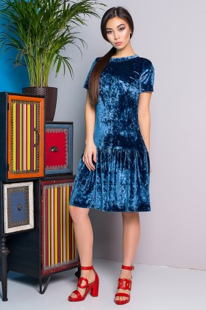 A-Dress. Платье-миди из бирюзового мраморного велюра. Артикул: 70831