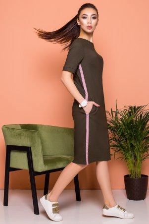 A-Dress. Стильное платье-футболка цвета хаки. Артикул: 70861