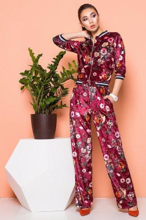 A-Dress. Велюровый костюм цвета марсала с цветочным принтом. Артикул: 80231