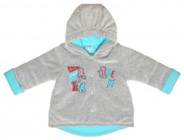 Garden baby. Куртка для мальчика, серый меланж/бирюза. Артикул: 105540-01-26