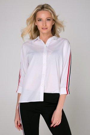 "Zefir. Рубашка с нашивками ""лампас"". Артикул: SPOT белая"