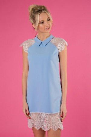 Zefir. Короткое платье с отделкой из кружева. Артикул: PEACH голубое