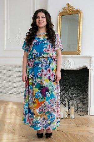 Tatiana. Шифоновое длинное платье. Артикул: ФАННИ синее