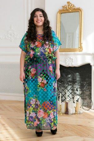 Tatiana. Шифоновое длинное платье. Артикул: ФАННИ бирюзовое