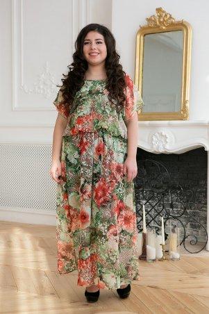 Tatiana. Шифоновое длинное платье. Артикул: ФАННИ зеленое