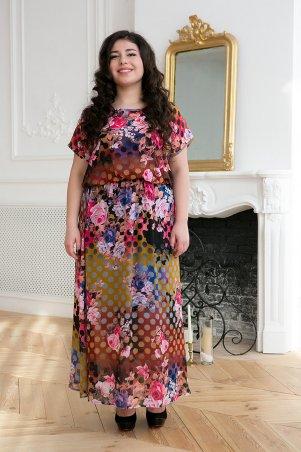 Tatiana: Шифоновое длинное платье ФАННИ коричневое - главное фото
