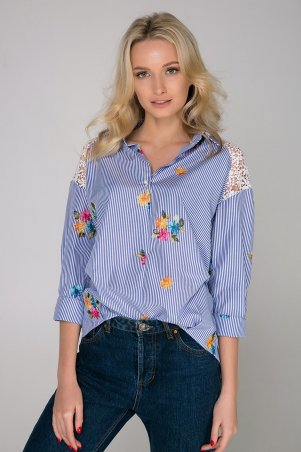 Zefir. Рубашка в полоску с цветами. Артикул: SOLI голубая