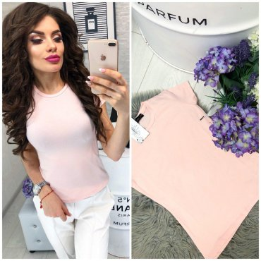 Immagine. Женская однотонная пудровая футболка. Артикул: 1783 розовый