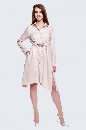 Cher Nika. Молочное платье с затяжным поясом. Артикул: 926