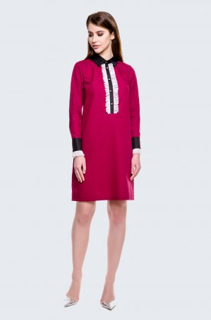 Cher Nika. Бардовое платье с рюшами. Артикул: 930