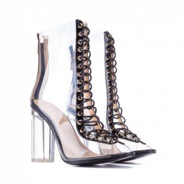 Daminika. Прозрачные ботинки на шнуровке. Артикул: 91802
