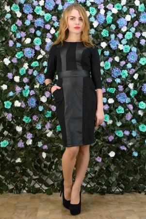 5.3 Mission: Офисное платье с кожаными вставками 5098/1 - главное фото