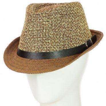 Cherya Group. Шляпа Челентанка. Артикул: 12017-32 бежевый-коричневый