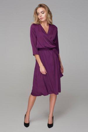 Marterina. Платье-миди с запахом фиолетовое. Артикул: K09P89R24