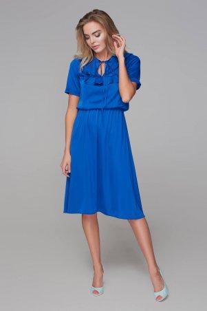 Marterina. Платье с кокеткой и коротким рукавом синее. Артикул: K09P43R04