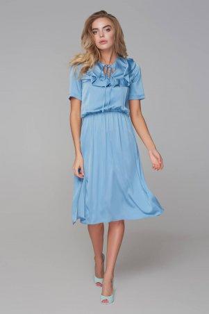 Marterina. Платье с кокеткой и коротким рукавом голубое. Артикул: K09P43R05