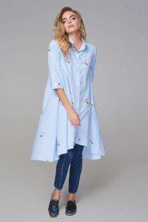 Marterina. Платье расклешенное в полоску с вышивкой. Артикул: K09P91CT84