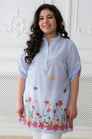 Tatiana. Рубашка в народном стиле с яркой вышивкой. Артикул: ФЛОРА