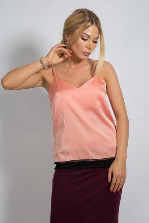 Bessa. Блуза на бретельках с кружевом Персиковый. Артикул: 2371