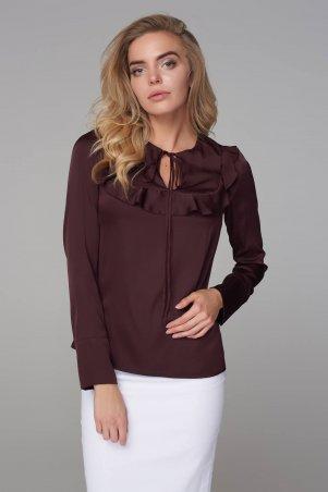 Marterina. Блуза с рукавом и воланом на кокетке шоколад. Артикул: K09BL04R29