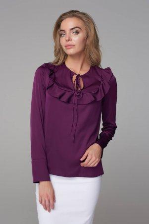 Marterina. Блуза с рукавом и воланом на кокетке фиолетовая. Артикул: K09BL04R24