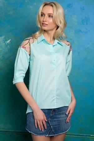 Zefir. Рубашка с кокеткой с вышивкой. Артикул: ALBA мятная