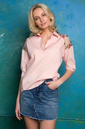 Zefir. Рубашка с кокеткой с вышивкой. Артикул: ALBA персиковая