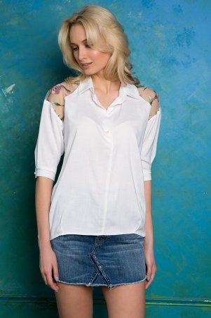 Zefir. Рубашка с кокеткой с вышивкой. Артикул: ALBA белая