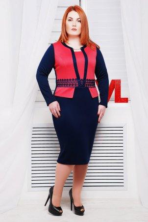 Vlavi. Нарядное трикотажное платье Жанна синее/коралл. Артикул: 1086