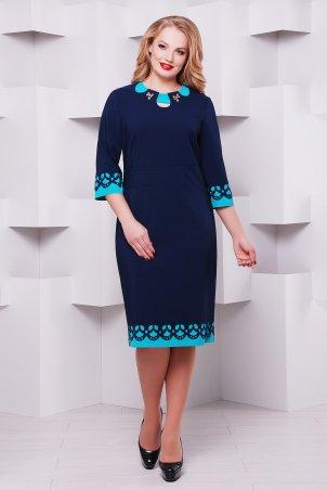 Vlavi. Женское платье с перфорацией Офелия синее/бирюза. Артикул: 1138