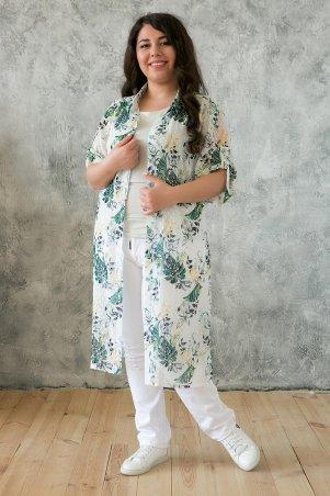 Tatiana. Шифоновый кардиган с зеленым принтом. Артикул: ДЕРИЛ белый
