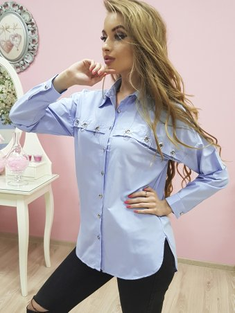 Paetka. Голубая рубашка с люверсами и пирсингом. Артикул: 658