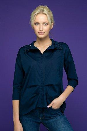 Zefir. Рубашка с декором из жемчуга. Артикул: TERY темно-синяя